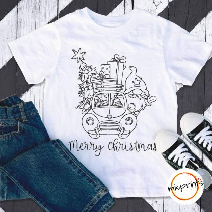 """black outline of an elf driving a truck carrying a Christmas Tree and gifts. THe words """"Merry Christmas"""" are written in a cursive font under the truck."""