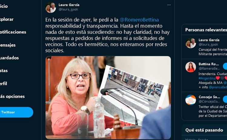 """""""Todo es hermético, nos enteramos por redes sociales"""" Tras varios pedidos de informe sin respuesta la concejal Laura Garcia explotó de indignación en twitter."""