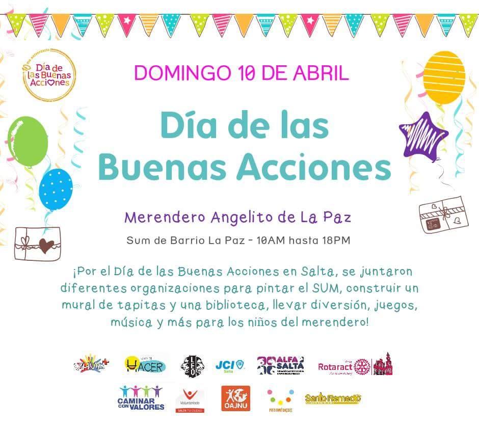 """Organizaciones Sociales de Salta se suman al """"Día de las Buenas Acciones"""""""