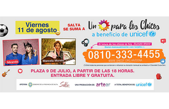 A beneficio de Unicef se realizará Un Sol para los Chicos en Salta