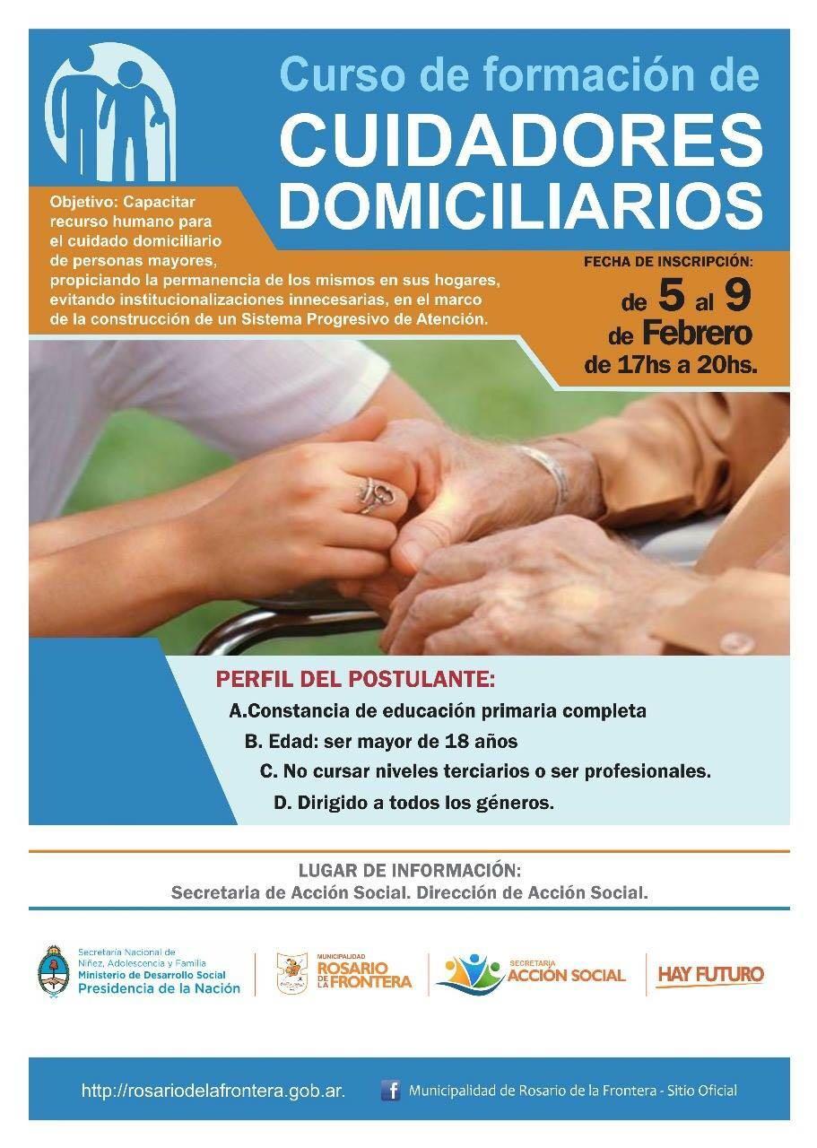 A partir de febrero, Rosario de la Frontera ofrece un curso para ser cuidadores domiciliarios