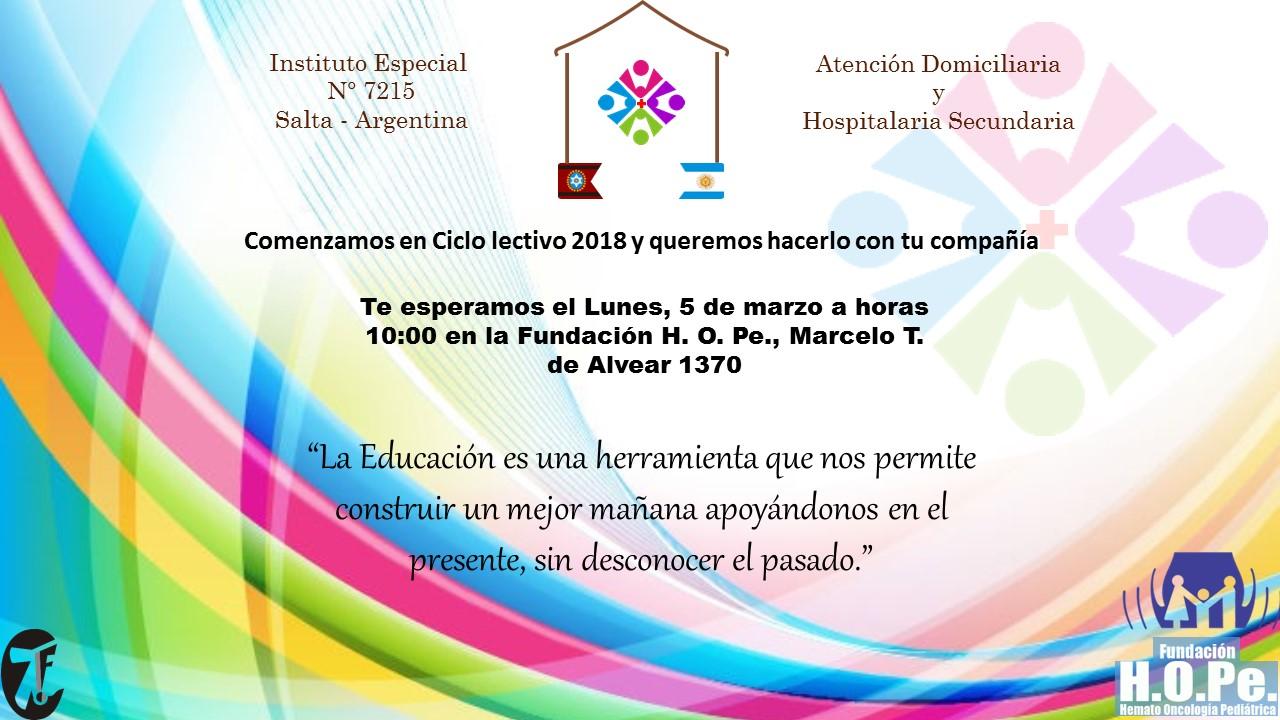 La Escuela Domiciliaria y Hospitalaria inicia las clases 2018