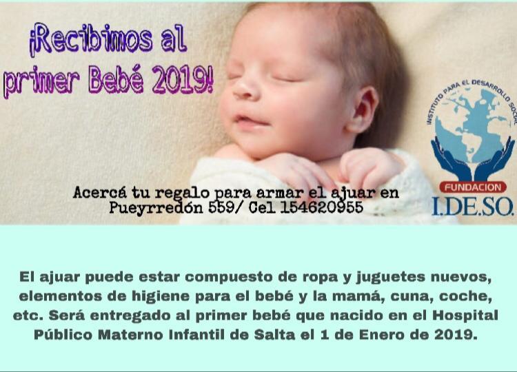 El Instituto de Desarrollo Social convoca a realizar el ajuar para recibir al primer bebé del 2019