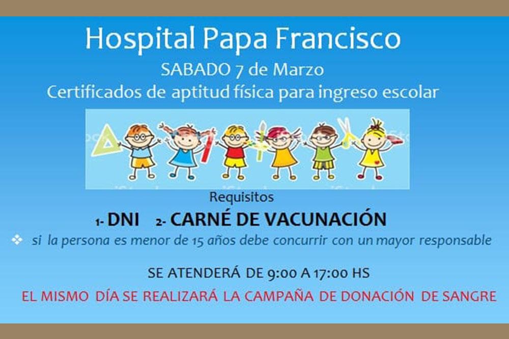 Emitirán certificados de salud y colectarán sangre en el hospital Papa Francisco