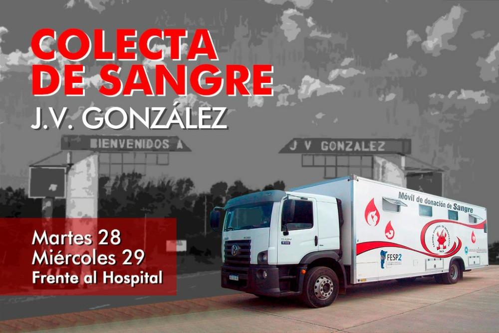 Habrá dos jornadas de colecta de sangre en Joaquín V González