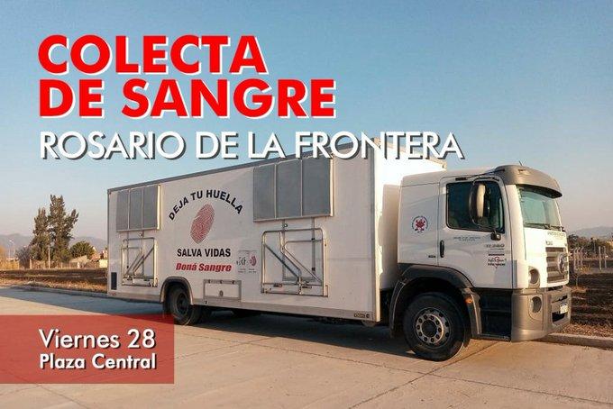 Hoy colecta de sangre en Rosario de la Frontera