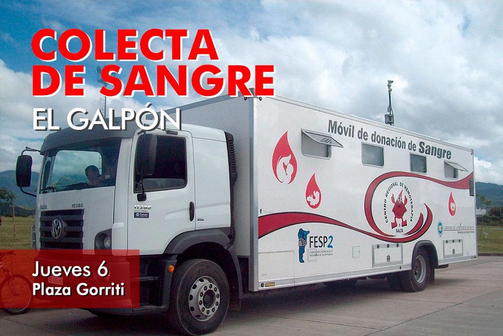 El móvil para recibir donaciones de sangre estará hoy en El Galpón