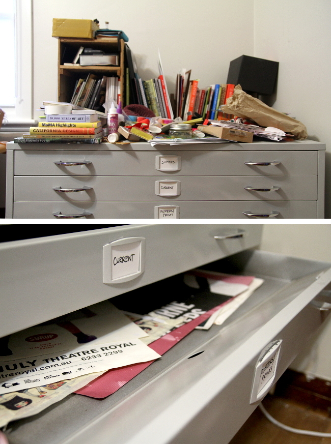 Grey flat file drawers