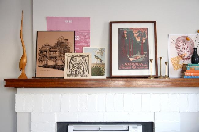 Fireplace mantel prints