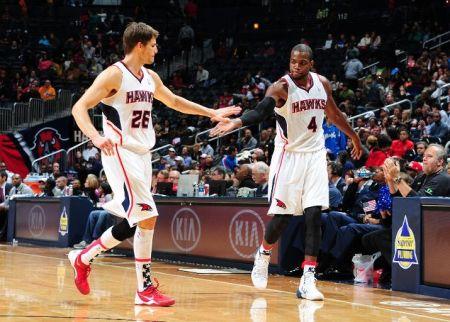 Former Utah Jazz players Kyle Korver and Paul Millsap are thriving in Atlanta. (Scott Cunningham/NBAE via Getty Image)