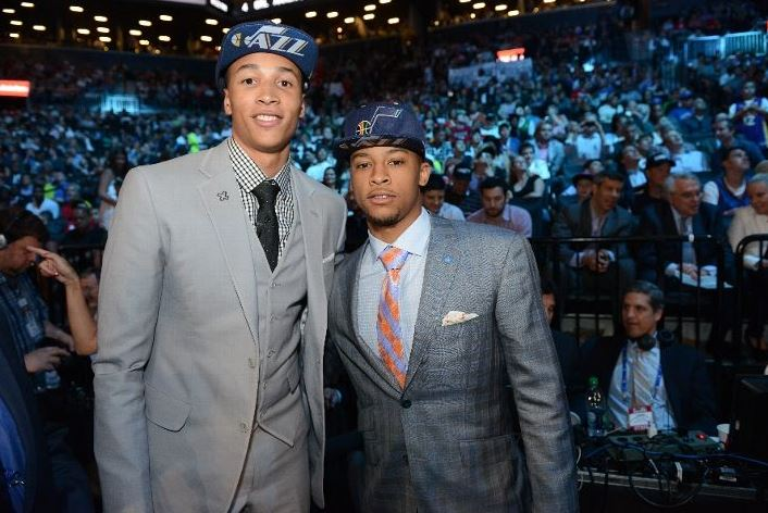 Dante Exum on draft night with Trey Burke. Photo by Jesse. D. Garrabrant - NBAE via Getty Images