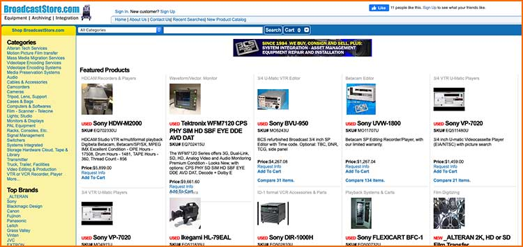 BroadcastStore - Used Production equipment websites