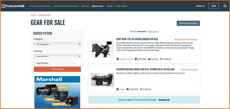 Production Hub Used Gear - Used Production equipment websites
