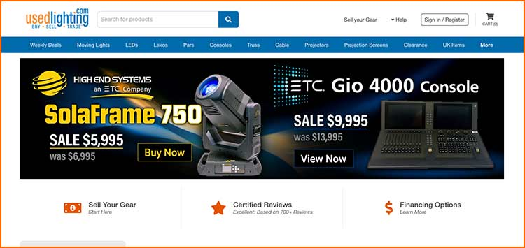UsedLighting.com - Used Production equipment websites
