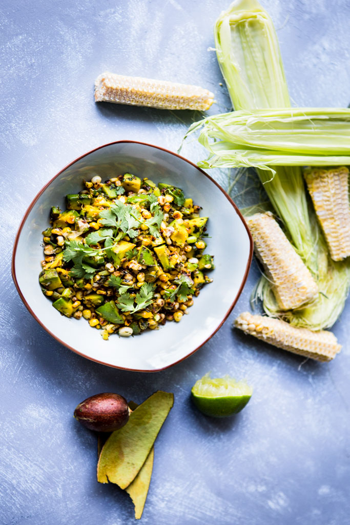Blistered corn salad with avocado, jalapeño, cilantro and lime is the perfect summer side dish.