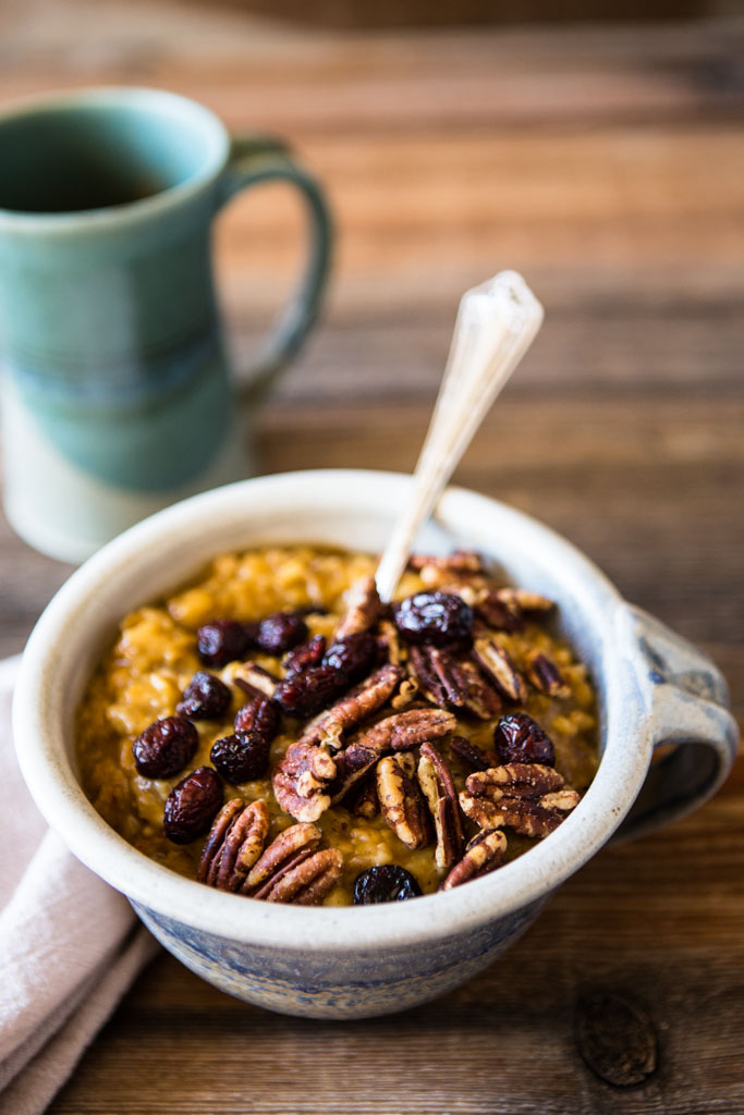 Slow cooker pumpkin spice oatmeal - the perfect cold weather breakfast.