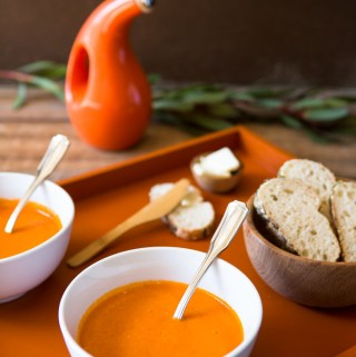 Roasting the tomatoes creates a rich, creamy tomato soup without the need to add cream. Delicious!