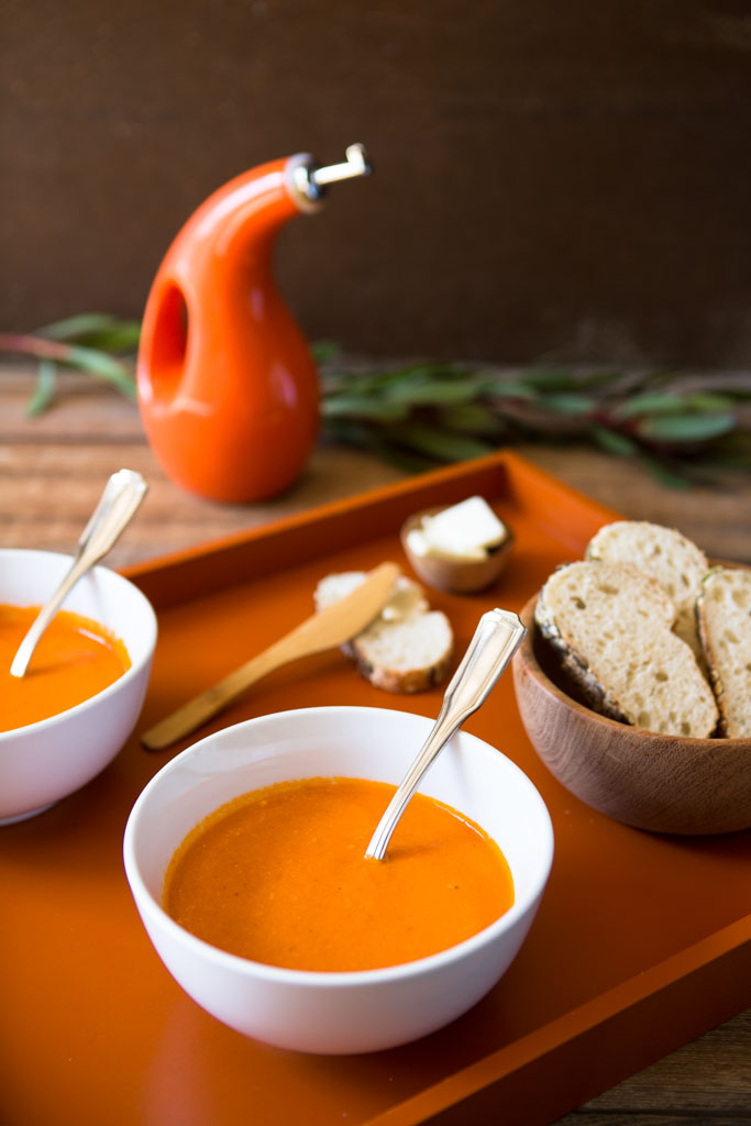 Easy Creamy Roasted Tomato Soup - perfect with crusty bread.