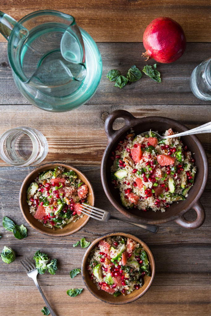 Superfoods Quinoa, Pomegranate and Brussels Sprouts Salad is full of nutrients and deliciousness in every bite.