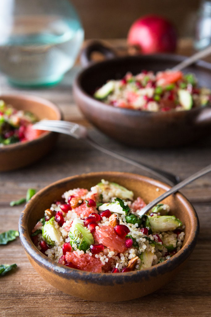 A mouthful of superfoods in every delicious bite - Brussels sprouts, quinoa, pomegranate seeds and almonds.