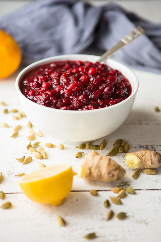 With cardamom, pineapple juice, fresh ginger, orange zest and lemon juice, this is not your traditional cranberry sauce - but it sure is delicious!
