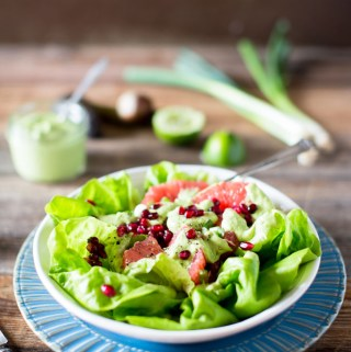 This delightfully refreshing Grapefruit Pomegranate Salad with Vegan Green Goddess Dressing offers a satisfying complexity of flavors and textures in every bite.