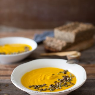 This Golden Turmeric Carrot Ginger Soup is all you need to warm you up on a cold winter day.