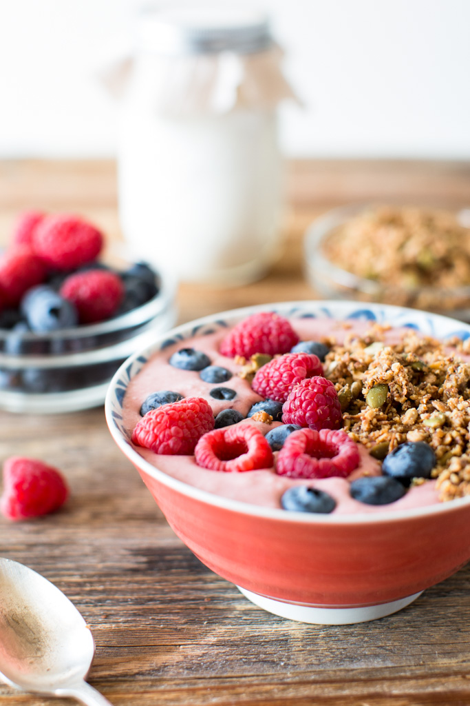I love starting my days with these Coconut Yogurt Smoothie Bowls with Grain Free Granola.