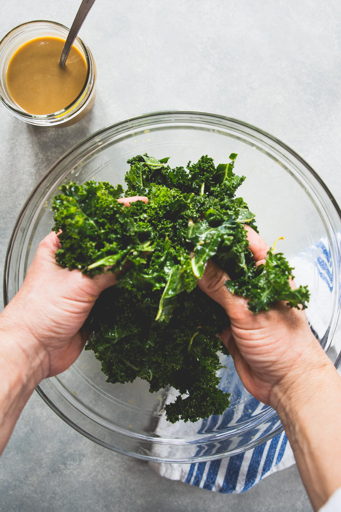 Massage kale leaves with a bit of olive oil to tenderize them before adding them to your salad.