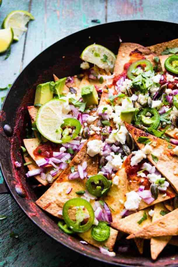 Simple 20 minute chilaquiles are a Mexican breakfast staple. But equally at home for brunch or dinner. A healthy dish using baked tortillas and lots of veg.