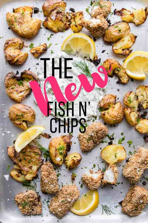 Healthy fish and chips. Quinoa crusted white fish baked, not fried and matched with a classic olive oil roast potato. Heart healthy and waist friendly fish and chips are perfect for everyday indulgence.