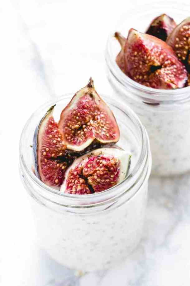 These fig & honey overnight oat pots are the perfect get up and go breakfast. They're creamy and sweet with a hint of salt and earthy sweet fig notes. High in calcium and protein they make the perfect breakfast.