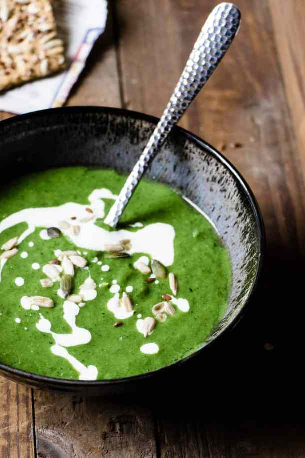 This green goddess wellness soup is the best way to get all your greens. This quick and simple delicious soup is all your health goals in a bowl.