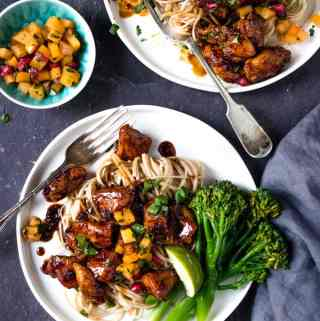 This easy Korean spicy chicken is my current weeknight favourite quick dinner. Crispy and tender pieces of chicken tossed in a sticky, sweet and spicy chilli sauce and served with a fruity winter salsa.