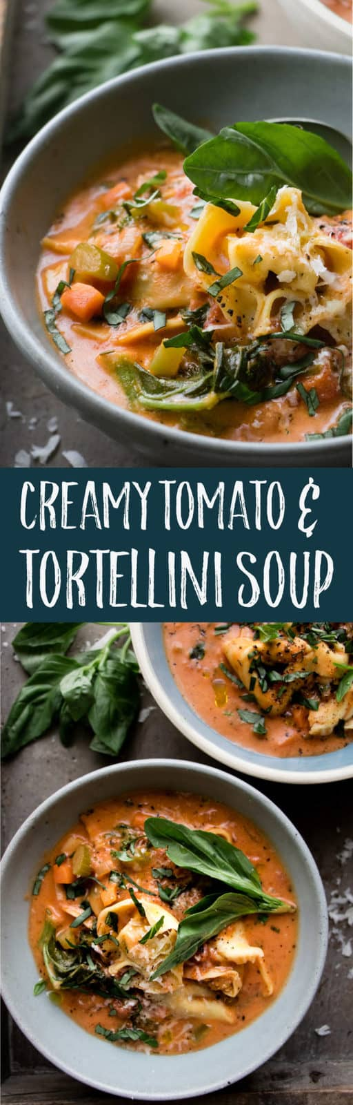 This extra veggie creamy tomato and tortellini soup is a healthy and hearty dinner or lunch. Italian herbs, iron rich kale and tomatoes, with cheese tortellini. Simple soup and comes together in 20 minutes. #soup #souping #Pasta #Dinner #Healthy
