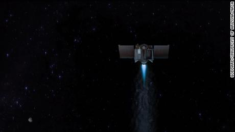 This illustration shows the OSIRIS-REx spacecraft departing asteroid Bennu to begin its two-year journey back to Earth.
