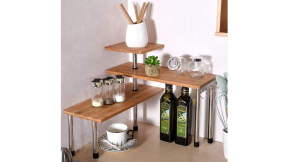 Ollieroo 3 Tier Corner Bamboo Shelf