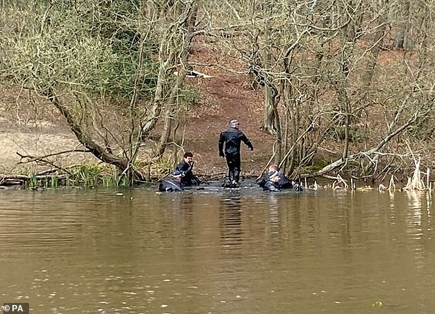 Police divers have been seen searching a pond in Epping Forest as part of the investigation into the disappearance of 19-year-old student Richard Okorogheye. Pictured: April 2