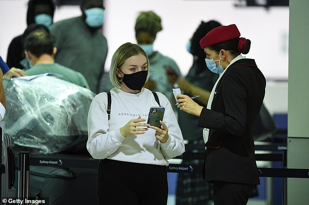The bubble will allow travellers from Australia and New Zealand to travel between the two countries without quarantining (pictured: passengers at Sydney Airport)