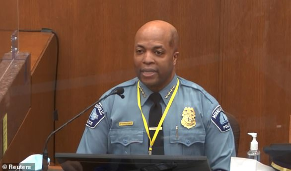 Police Chief Medaria Arradondo fired Chauvin and three other officers the day after Mr Floyd's death on May 25 last year. He said at the time: 'Mr. George Floyd's tragic death was not due to a lack of training - the training was there. Chauvin knew what he was doing'