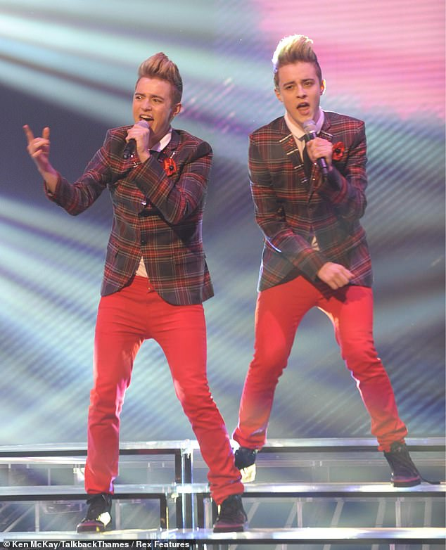 Tirade:It comes as twin brothers Jedward - John and Edward Grimes, both aged 29, who found fame on The X Factor in 2009, slammed the music industry (pictured in 2009)