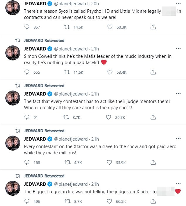 Starting off their Twitter tirade, Jedward shared a video of them performing R.E.M. Everybody Hurts, they added: 'Everybody hurts [heart emoji]. It shouldn't be normal that all artists have to face the emotional and legal battles when all they wanted to do is sing!'