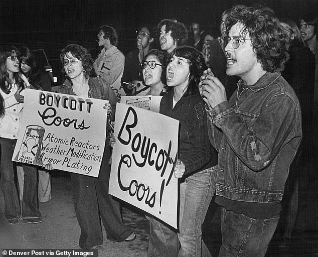 Coors Field is named for Coors Brewing Company, which for more than a decade was accused of discrimination in its hiring and other questionable practices. Pictured are protesters in 1975