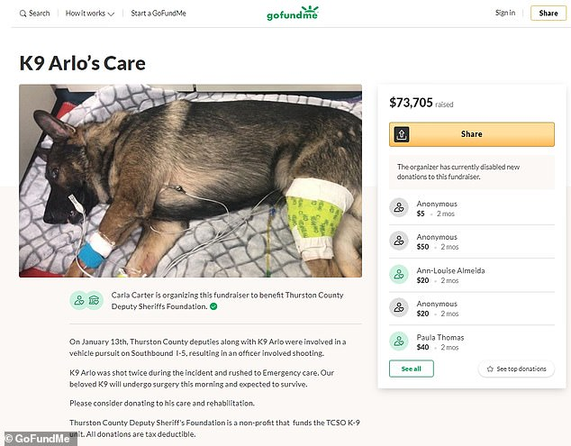 The now disabled GoFundMe raised $73,705 to benefit the Thurston County Deputy Sheriff's Foundation and K-9 Arlo's medical expenses