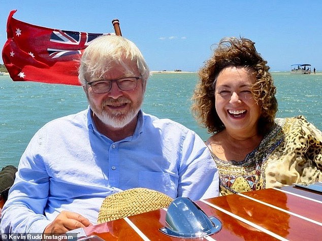 Pictured: Kevin Rudd with his wife Therese on their 39th wedding anniversary in Noosa