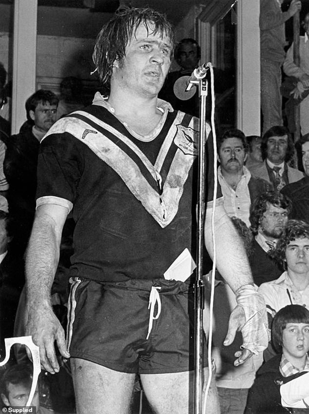 Tommy Raudonikis gives a victory speech the night Wests won the Amco Cup in 1977