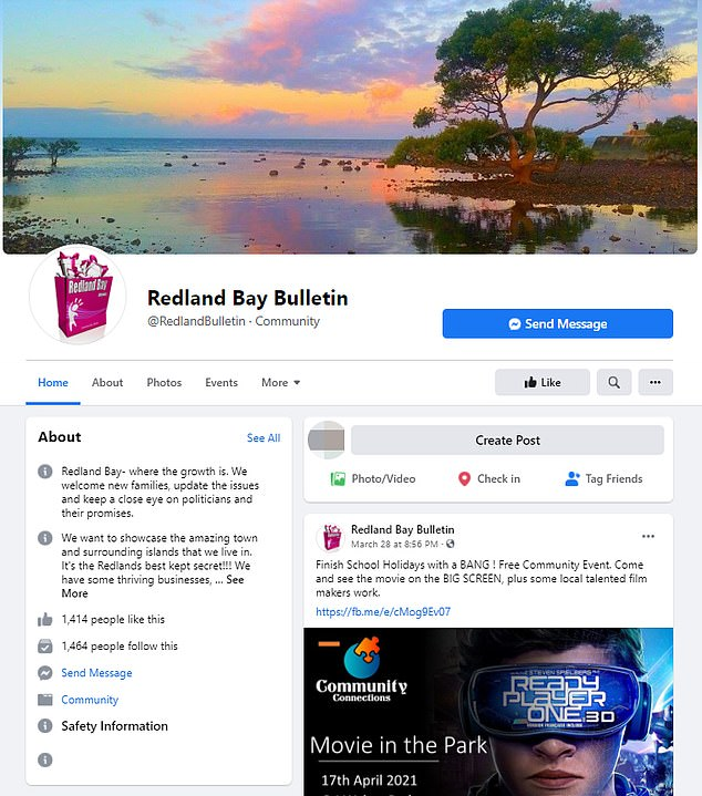 The Facebook pages include Redland Bay Bulletin, which has a similar name to local news site the Redland City Bulletin