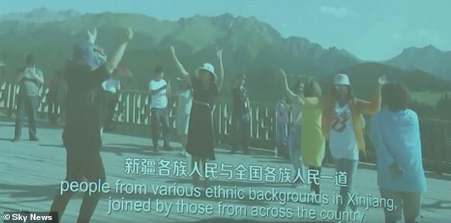 The press conference included a propaganda video presentation painting a rosy picture of ethnic harmony in Xinjiang, China