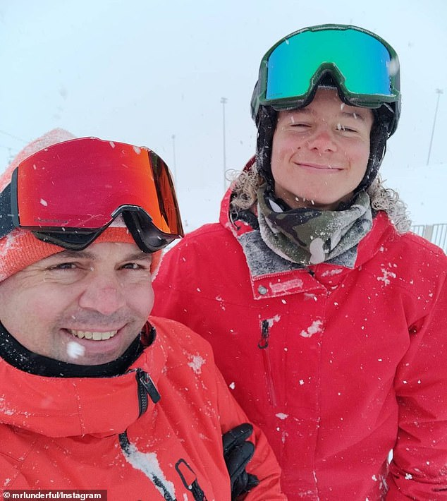The new halfpipe highest air world record holder Valentino Guseli, from Dalmeny NSW with snowboard coach Mike Lund