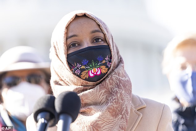 The conservative watchdog had released a video in September making the unfounded claim that Rep. Ilhan Omar (above) was involved in a voter fraud scheme. The NYT published a story citing researchers from Stanford and Washington Universities who said the video was 'disinformation campaign' sparking the suit from Project Veritas
